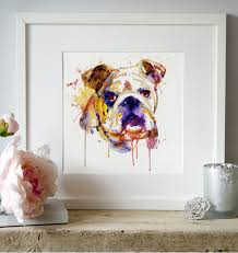 Smashing Pumpkins Shirt Etsy by English Bulldog Watercolor Portrait Wall Art Dog Art Aquarelle