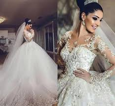 Discount African Vintage Wedding Dresses 2016 2017 Sheer Neck 3d Appliques Long Sleeves Dress Luxury Tulle Saudi Arabia Bridal