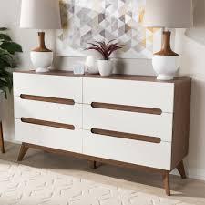 6 Drawer Dresser White by Baxton Studio Calypso Mid Century Modern White And Walnut Wood 6