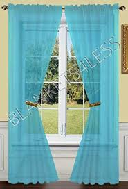 amazon com 2 piece solid turquoise sheer window curtains drape