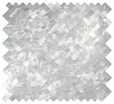 white groutless herringbone pearl tile contemporary mosaic
