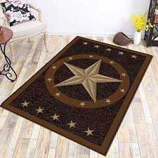 Picture Of Texas Western Star Rustic Cowboy Decor Brown Black Area Rug