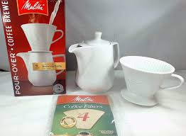 Melitta 640476 6 Cup Pour Over Coffee Brewer Porcelain Brewing Cone And Carafe