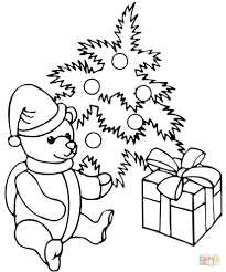 Related Coloring Pages Decorated Christmas Tree With A Teddy Bear And Gift Box From