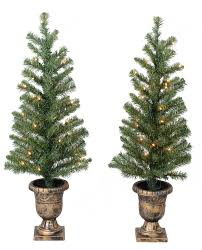 White Artificial Christmas Trees Walmart by Holiday Time Christmas Decor Pre Lit 2 Pack 3 5 U0027 Artificial Porch