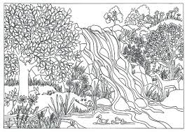 Items Similar To Printable Waterfall Nature Scene Coloring Page