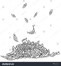 Black White Pile Leaves Cartoon Illustration Stock Vector