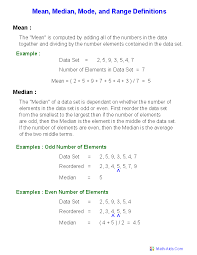 mode median and range mode median worksheets mode median and range worksheets