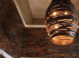 wooden pendant light with split modern living room