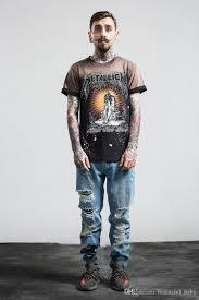 Vintage T Shirts For Men Tops Tee MenS Rock Band Spray Paint Sorrowful Jesus Printed Mens Streetwear Fw12 All Shirt Order