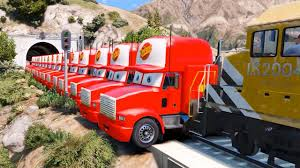 Mack Truck In Trouble With Train - Disney Cars Lightning McQueen ...