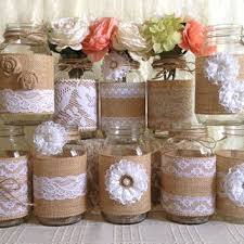 10x Rustic Burlap And White Lace Covered Mason Jar Vases Wedding Decoration Bridal Shower