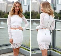 long sleeve white lace two piece dress set on luulla