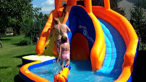 Inflatable Tubes For Toddlers by Kids Playing On New Banzai Sidewinder Waterslide 8 2010 Youtube