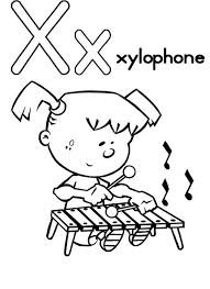 Capital Letter X Coloring For Xylophone Page