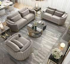 luxus edelstahl samt polster sitz 3 2 1 set garnitur sofa neu wohnzimmer