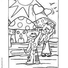 Whistling Boy Valentines Day Mushrooms Coloring Page
