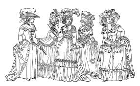 Drawing Of Women From The 18th Century Representing Fashion Style This Era
