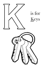 Letter K Is For Key Coloring Page Printable Pages Adult