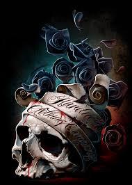 Skull Banner And Roses By Hardnox757 Digital Art Drawings Paintings Charlie Immer