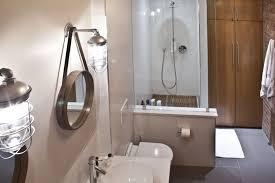 Rustic Bathroom Light Fixtures Ceiling Circle Mirror Hanging Above Wash Basin