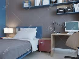 idee der kinder schlafzimmer mit grauen wänden blaue und rote dekoration minimalistische wandsystem mit pc 3d übertragen