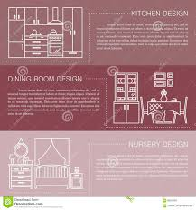 Download Modern Brochure Flyer Design Template With Line Interior Icons Kitchen Dining Room