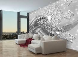fototapete pusteblume ornament grau fototapeten tapete wandbild schmetterlinge blumen welle m1381
