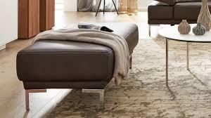 interliving sofa serie 4251 hocker dunkelgraues leder vintage grey metallfüße ca 125 x 65 cm