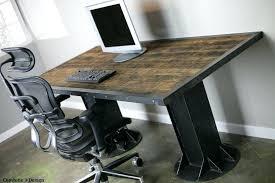 Modern Industrial I Beam Desk Vintage Style Mid Century