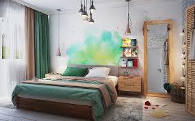 chambre adulte peinture decoration peinture eau tons verts chambre adulte literie