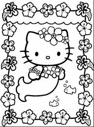 Remarkable Hello Kitty Mermaid Coloring Pages To Print With Color And