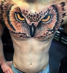 Mens Realistic 3d Owl Eyes Chest Tattoo
