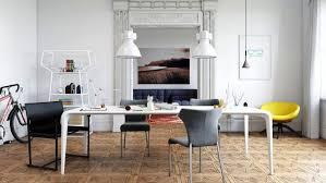 Dining Room Wooden Herringbone Pattern Floor Rectangular Wood Table Light Hardwood Industrial Pendant