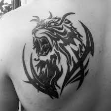 Shoulder Blade Black Ink Tribal Tiger Tattoos For Males