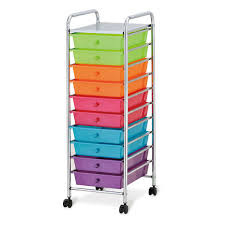 10 Drawer Organizer Cart Pearlized Multi Color