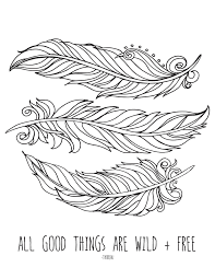 Feather Coloring Page Printable Feathers For Adults Pdf Jpg Instant Images