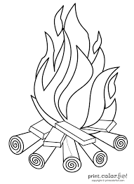 Children Camp Fire Colouring Pages