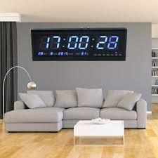 uhr led digitaluhr mit datum temperatur wanduhr wohnzimmer büro 48x19x5 cm ebay