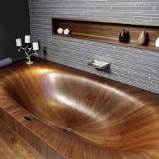 Interessane Gestaltung Eingelassene Badewanne Hölzerne Bretter Einmalig Jede Holz Badewanne Ist Dank Ihrer Individuellen Maserung