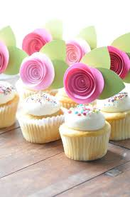 Paper Flower Cupcake Toppers
