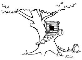 Treehouse With Round Stairway Coloring Page