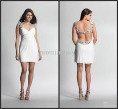 Trending 2016 Custom Made Luxury Crystal Beaded White Chiffon Short Sexy Backless Night Club Evening Dresses
