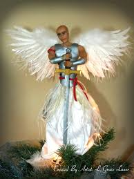 Christmas Tree Toppers Unique by Guardian Warrior Angel Christmas Tree Topper Ooak Male Clay