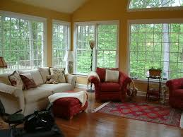 Exciting Sunroom Furniture Layout Decoration Ideas With Narrow Framed Windows And Laminate Wood Flooring
