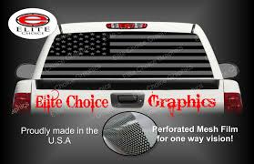 100 Pickup Truck Rear Window Graphics American Flag Black And Grey Graphic Tint Decal Etsy