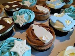 Baby Shower Chocolate Vanilla Cupcakes With Rocking Horse Star Bottle Detail