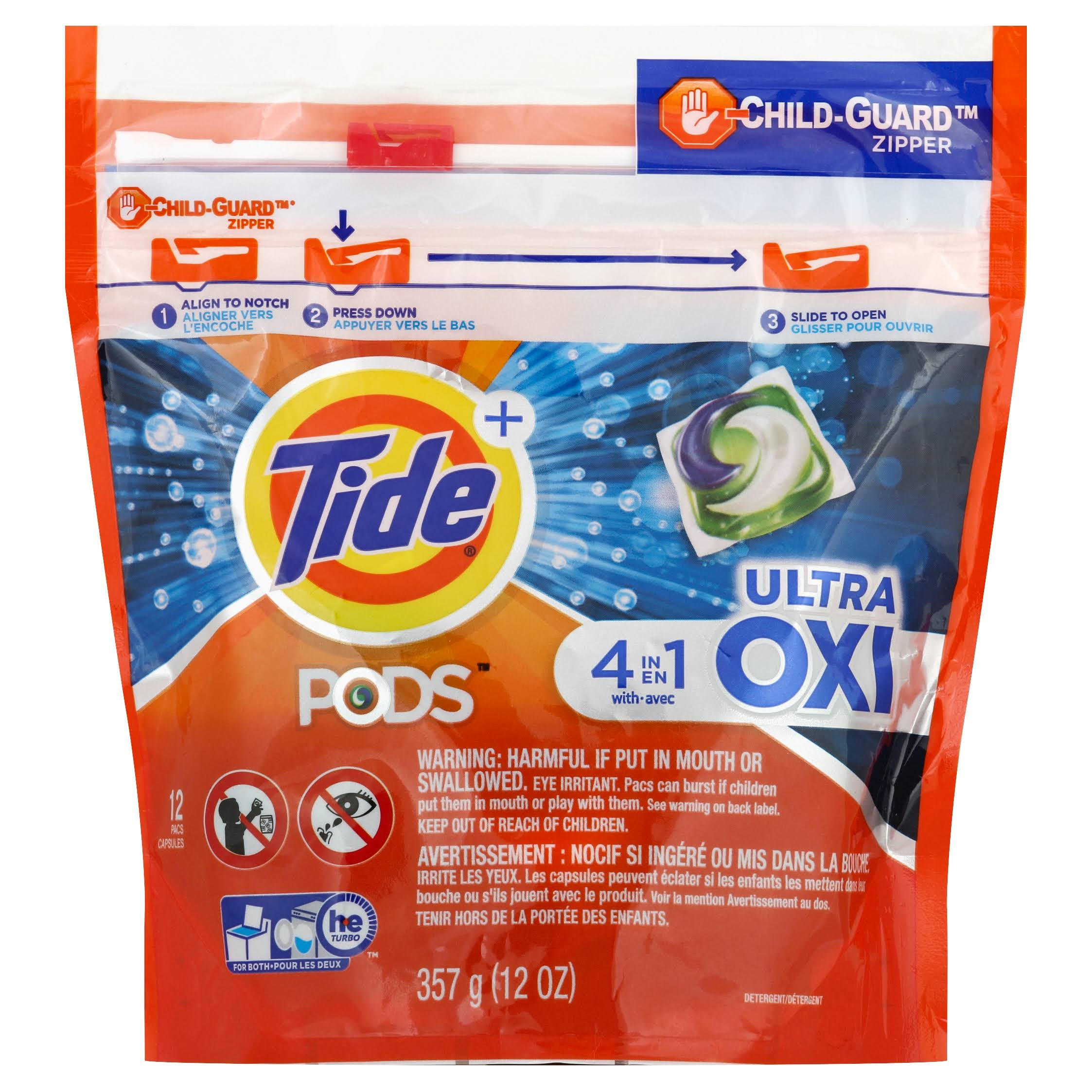 Tide Plus Pods Detergent, 4 in 1, Ultra Oxi - 12 pacs, 12 oz