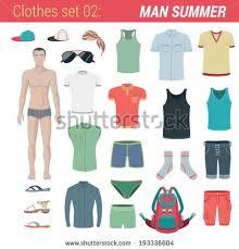 Man Summer Clothing Vector Icon Set Pants Trunks Socks Hat T