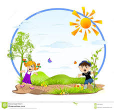 Kids Playing Stock Illustration Of Grass